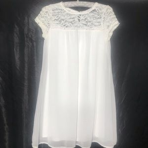 As U Wish babydoll white chiffon dress w/pompons